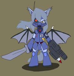 Size: 1997x2048 | Tagged: safe, alternate version, artist:omegapony16, oc, oc only, oc:oriponi, bat pony, pony, armor, bat pony oc, bipedal, colored, female, gun, mare, mask, photo, solo, sword, weapon