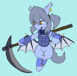 Size: 2048x2019 | Tagged: safe, artist:omegapony16, oc, oc only, oc:oriponi, bat pony, pony, armor, bat pony oc, ear piercing, earring, female, flying, jewelry, mare, piercing, scythe, simple background, solo