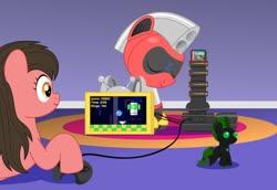 Size: 1280x882   Tagged: safe, artist:trackheadtherobopony, oc, oc:cutie e, oc:cyrax, oc:trackhead, earth pony, pegasus, pony, robot, robot pony, console, plushie, sega genesis, sleeping, sonic 3 & knuckles, sonic the hedgehog (series), video game