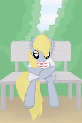 Size: 2000x3000   Tagged: safe, artist:eternyan, derpy hooves, bench, clothes, sad, shirt, sitting, solo