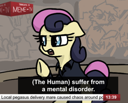 Size: 433x348 | Tagged: safe, artist:plunger, bon bon, sweetie drops, earth pony, pony, /mlp/, 4chan, drawthread, grammar error, implied derpy hooves, memri tv, news anchor, ponified, solo, subtitles, text