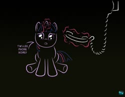 Size: 600x462 | Tagged: safe, artist:quint-t-w, twilight sparkle, pony, unicorn, dark background, dialogue, e.t., female, filly, filly twilight sparkle, foal, looking at you, magic, old art, phone, reference, sad, solo, telekinesis, unicorn twilight, younger