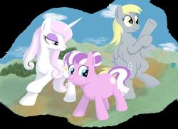 Size: 700x509   Tagged: safe, artist:quint-t-w, derpy hooves, fleur-de-lis, nurse sweetheart, earth pony, pegasus, pony, unicorn, action pose, fairy tale, old art, pose, simple background, transparent background