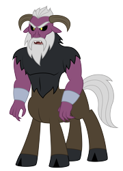 Size: 4405x6114 | Tagged: safe, artist:aleximusprime, idw, sendak the elder, centaur, flurry heart's story, fiendship is magic, beard, cloven hooves, curved horns, facial hair, height difference, male, simple background, solo, transparent background, wrist cuffs