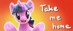 Size: 460x200 | Tagged: safe, artist:nekokevin, twilight sparkle, pony, unicorn, :d, bronybait, female, irl, looking at you, mare, open mouth, photo, plushie, raised hoof, smiling, solo, underhoof, unicorn twilight