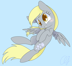 Size: 1340x1230   Tagged: safe, artist:inkie-heart, derpy hooves, pegasus, pony, blue background, blushing, cute, derpabetes, female, flying, mare, obtrusive watermark, signature, simple background, smiling, solo, spread wings, watermark, wings