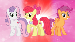 Size: 5360x3008 | Tagged: safe, artist:andoanimalia, apple bloom, scootaloo, sweetie belle, earth pony, pegasus, pony, unicorn, growing up is hard to do, spoiler:s09e22, cutie mark, granny smith's scarf, looking at you, older, older apple bloom, older cmc, older scootaloo, older sweetie belle, the cmc's cutie marks, wallpaper