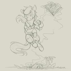 Size: 1200x1200 | Tagged: safe, artist:sinrar, oc, oc only, oc:aleph, crystal pony, demon, book, levitation, magic, monochrome, simple background, sketch, summoning, telekinesis