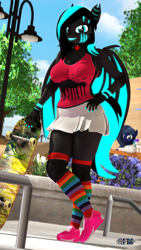 Size: 1080x1920 | Tagged: safe, artist:anthroponiessfm, oc, oc:aurora starling, oc:glitch, oc:midnight music, anthro, bat pony, plantigrade anthro, 3d, anthro oc, bat pony oc, breasts, clothes, cute, female, long socks, looking at you, shoes, skateboard, skirt, sneakers, socks, source filmmaker, striped socks