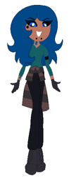 Size: 226x578 | Tagged: safe, artist:nightcorecat123, oc, oc only, oc:sidewinder, equestria girls, base used, beauty mark, black sclera, boots, clothes, colored sclera, equestria girls-ified, female, gloves, jeans, pants, piercing, shirt, shoes, simple background, snake bites, solo, sweater, tattoo, white background