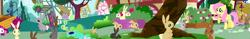 Size: 3593x563 | Tagged: safe, edit, edited screencap, screencap, fluttershy, rabbit, applebuck season, animal, big chungus, panorama