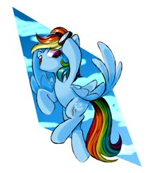 Size: 1300x1499 | Tagged: safe, artist:thieftea, rainbow dash, pegasus, pony, abstract background, cloud, cute, dashabetes, female, flying, goggles, mare, open mouth, profile, sky, solo, spread wings, wings