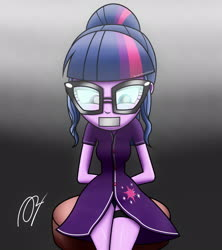 Size: 1920x2160   Tagged: safe, artist:aryatheeditor, sci-twi, twilight sparkle, equestria girls, arm behind back, chair, clothes, cutie mark, dark, digital art, element of magic, gag, geode of telekinesis, glasses, heterochromia, kidnapped, lewd, magic, magical geodes, serious, serious face, sexy, solo, swimsuit, tape, tape gag, tied up