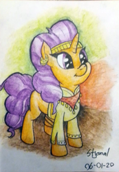 Size: 763x1103 | Tagged: safe, artist:stjonal, saffron masala, pony, unicorn, adorkable, clothes, colorful background, curly hair, curly mane, cute, dork, ear piercing, earring, female, headband, jewelry, mare, orange coat, photo, piercing, purple eyes, saffronbetes, scarf, shirt, simple background, smiling, standing, traditional art, watercolor painting
