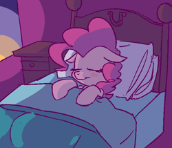 Size: 646x553 | Tagged: safe, anonymous artist, artist:rustydooks, pinkie pie, earth pony, pony, bed, blushing, colored, cute, diapinkes, eyes closed, female, floppy ears, mare, mlpg, nightstand, on back, on bed, pillow, sleeping, solo