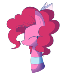 Size: 1204x1408 | Tagged: safe, artist:cookie-and-her-foxes, pinkie pie, pony, bow, bust, choker, cute, diapinkes, eyes closed, female, hair bow, mare, portrait, profile, smiling, solo