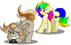Size: 1280x817 | Tagged: safe, artist:rainbowtashie, carrot top, derpy hooves, golden harvest, oc, oc:clumsy carrot, oc:rainbowtashie, earth pony, pegasus, pony, blushing, commissioner:bigonionbean, cutie mark, dat flank, dawwww, embarrassed, extra thicc, female, funny, fusion, fusion:clumsy carrot, mare, meme, nintendo 64, nintendo switch, sweat, thicc ass, writer:bigonionbean