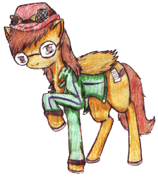 Size: 2414x2699   Tagged: safe, artist:anonymous, artist:ciaran, derpibooru exclusive, edit, oc, oc only, oc:type writer, pegasus, pony, 2020 community collab, derpibooru community collaboration, bowler hat, clothes, glasses, hat, jacket, simple background, solo, traditional art, transparent background
