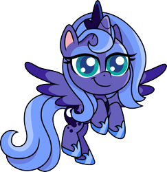 Size: 1280x1316 | Tagged: safe, artist:cloudyglow, princess luna, alicorn, pony, my little pony: pony life, crown, cute, eyeshadow, female, filly, flying, foal, jewelry, lidded eyes, looking at you, lunabetes, makeup, regalia, s1 luna, simple background, solo, transparent background, woona, young, younger