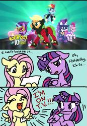 Size: 515x745 | Tagged: safe, artist:curepimmy, artist:pimmy, screencap, applejack, fluttershy, pinkie pie, rainbow dash, rarity, twilight sparkle, alicorn, earth pony, pegasus, pony, unicorn, power ponies (episode), all new, comic, crossover, dialogue, female, floppy ears, mane six, mare, monsters inc., power ponies, text, twilight sparkle (alicorn)