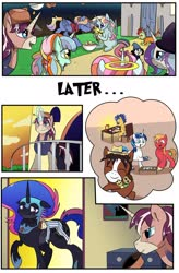 Size: 1280x1949 | Tagged: safe, artist:candyclumsy, big macintosh, flash sentry, shining armor, trouble shoes, oc, oc:aerial agriculture, oc:earthing elements, oc:king speedy hooves, oc:princess healing glory, oc:princess mythic majestic, oc:princess sincere scholar, oc:queen nightmare pulsar, oc:tommy the human, alicorn, earth pony, human, pegasus, pony, unicorn, comic:nightmare pulsar, alicorn oc, balcony, bedroom, candy, canterlot, canterlot castle, clothes, comic, commissioner:bigonionbean, costume, dawn, dialogue, doll, female, food, fusion, fusion: princess healing glory, fusion:aerial agriculture, fusion:earthing elements, fusion:king speedy hooves, fusion:princess mythic majestic, fusion:princess sincere scholar, fusion:queen nightmare pulsar, glasses, grandfather and grandson, grandmother and grandson, grandparent and grandchild moment, grandparents, halloween, halo, hat, holiday, house, human oc, husband and wife, jewelry, magic, magician outfit, male, mother and son, nerd pony, nightmare night, nuzzles, overalls, pajamas, photos, random pony, regalia, riding, sleeping, spectacles, stallion, tired, toy, writer:bigonionbean