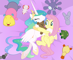 Size: 843x703 | Tagged: safe, artist:queencold, fluttershy, princess celestia, alicorn, pegasus, pony, cuddling, cute, cutelestia, duo, female, plushie, shyabetes, snuggling, stuffed animals, teddy bear