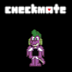 Size: 583x583 | Tagged: safe, artist:tarkan809, spike, fanfic:check mate, concept, deltarune, pixel art, story included