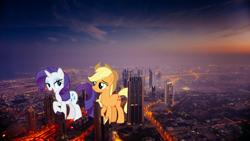 Size: 2488x1400   Tagged: safe, artist:andoanimalia, artist:cloudyglow, applejack, rarity, earth pony, pony, unicorn, dubai, female, giant pony, giantess, highrise ponies, irl, macro, photo, ponies in real life