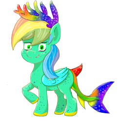 Size: 3200x3200 | Tagged: safe, artist:ciaran, derpibooru exclusive, oc, oc only, original species, pony, shark, shark pony, antlers, multicolored hair, rainbow antlers, rainbow hair, rainbow tail, simple background, transparent background, wings