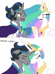 Size: 2048x2732 | Tagged: safe, artist:justsomepainter11, idw, king sombra, princess celestia, reflections, spoiler:comic, angry, argument, celestia is not amused, celestibra, cute, description is relevant, female, good king sombra, king sombra is not amused, making up, male, nuzzling, shipping, simple background, story included, straight, unamused, white background