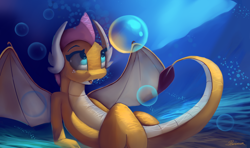 Size: 4554x2700 | Tagged: safe, artist:auroriia, smolder, dragon, bubble, dragon wings, female, horns, looking up, open mouth, scales, solo, tail, underwater, water, wings