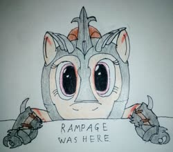 Size: 2211x1942 | Tagged: safe, artist:überreaktor, oc, oc:rampage, pony, fallout equestria, fallout equestria: project horizons, fanfic art, hooves, kilroy, kilroy was here, solo, text, traditional art