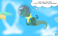Size: 600x372 | Tagged: safe, artist:quint-t-w, pony, sea pony, bubble, cartoon physics, clothes, cloud, eyes closed, flying, offscreen character, old art, straining, thought bubble, uniform, water, wonderbolt trainee uniform
