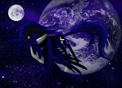 Size: 2338x1700 | Tagged: safe, artist:whitewing1, oc, oc:dark star, alicorn, pony, earth, male, moon, solo, stallion