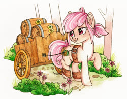 Size: 1419x1108 | Tagged: safe, artist:red-watercolor, oc, oc only, oc:hopple scotch, earth pony, pony, barrel, cart, female, flower, keg, mare, outdoors, raised hoof, road, simple background, smiling, solo, traditional art, tree, watercolor painting, white background