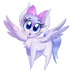 Size: 1646x1646   Tagged: safe, artist:dragonpone, derpibooru exclusive, oc, oc only, oc:chrome fuchsia, pegasus, pony, 2020 community collab, derpibooru community collaboration, blush sticker, blushing, bow, cheek fluff, chest fluff, female, hair bow, looking up, mare, open mouth, simple background, smiling, solo, spread wings, transparent background, wings