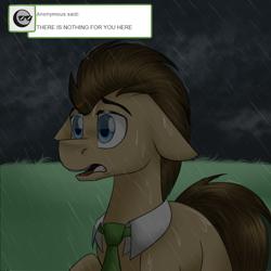 Size: 750x750 | Tagged: safe, artist:jitterbugjive, doctor whooves, time turner, pony, lovestruck derpy, floppy ears, rain, solo
