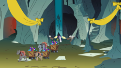 Size: 2880x1619 | Tagged: safe, screencap, fido, rarity, rover, spot, diamond dog, pony, unicorn, a dog and pony show, bow, cart, cave, diamond dog guard, female, gem, male, mare, pulling, ribbon, underground