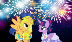 Size: 2064x1204 | Tagged: safe, flash sentry, twilight sparkle, alicorn, the last problem, spoiler:s09e26, armor, clothes, coronation dress, dress, female, fireworks, flashlight, friends, friendship, happy new year, happy new year 2020, holiday, looking at each other, male, night, royal guard, royal guard armor, second coronation dress, shipping, smiling, straight, twilight sparkle (alicorn)