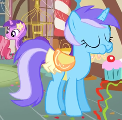 Size: 822x808 | Tagged: safe, screencap, amethyst star, cup cake, diamond mint, sparkler, pony, unicorn, a bird in the hoof, background pony, cropped, cupcake, eating, female, food, mare, recolor, saddle, solo focus, tack