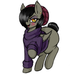 Size: 1200x1200 | Tagged: safe, artist:aer0 zer0, oc, oc only, oc:enzeria, bat pony, 2020 community collab, derpibooru community collaboration, beanie, clothes, ear piercing, earring, female, hair over one eye, hat, jewelry, lidded eyes, open mouth, piercing, simple background, smiling, solo, sweater, the ass was fat, transparent background