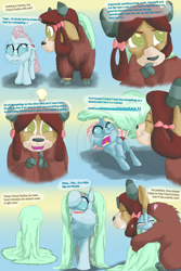 Size: 1250x1875 | Tagged: safe, artist:firefanatic, ocellus, yona, adorable distress, blanket, blushing, chest fluff, cold, covered, cute, dialogue, diaocelles, fluffy, grateful, heart, hug, idea, light bulb, misleading thumbnail, monkey swings, shivering, smiling, teary eyes, thinking, wholesome, yonadorable