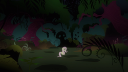 Size: 2880x1620 | Tagged: safe, screencap, fluttershy, pegasus, pony, a bird in the hoof, everfree forest, female, forest, mare, solo