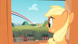 Size: 2880x1620 | Tagged: safe, screencap, applejack, earth pony, pony, the cutie mark chronicles, building, cloud, female, filly, filly applejack, foal, hill, manehattan, open mouth, ponyville, rainbow, solo, younger