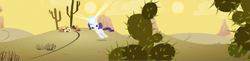 Size: 6608x1622   Tagged: safe, composite screencap, edit, edited screencap, screencap, rarity, pony, unicorn, the cutie mark chronicles, cactus, desert, female, filly, filly rarity, glowing horn, horn, lidded eyes, panorama, plant, prickly pear, rariquest, rarity being dragged to her destiny, saguaro cactus, solo, sun, younger