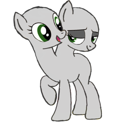 Size: 868x921 | Tagged: safe, artist:calebtyink, earth pony, pony, base, conjoined, conjoined twins, lidded eyes, multiple heads, raised hoof, simple background, smiling, template, two heads, white background