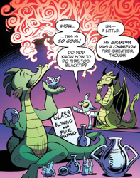 Size: 1426x1808 | Tagged: safe, artist:andypriceart, idw, blacktip, urtica, changedling, changeling, dragon, spoiler:comic, spoiler:comic61, clothes, convocation of the creatures, cropped, eyes closed, female, fire, fire breath, glass, male, official comic, pointing, purple background, raised hoof, simple background, speech bubble, statuette, trio, unnamed dragon, vase