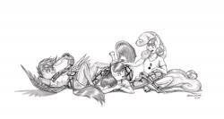 Size: 1788x950 | Tagged: safe, artist:baron engel, apple bloom, scootaloo, sweetie belle, oc, oc:squeezie, anthro, earth pony, pegasus, snake, unguligrade anthro, unicorn, cutie mark crusaders, female, monochrome