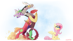 Size: 2100x1176 | Tagged: safe, artist:kyumiku, big macintosh, discord, fluttershy, spike, butterfly, draconequus, dragon, earth pony, pegasus, pony, blushing, bouquet, bowtie, butterfly on nose, cute, discoshy, ear fluff, female, flower, insect on nose, male, mare, one eye closed, open mouth, pushing, rose, shipper on deck, shipping, stallion, straight, vein bulge, winged spike, wink, yoke