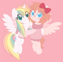 Size: 918x905 | Tagged: safe, artist:owlity, oc, oc only, oc:sayaka, oc:sweet dreams, alicorn, pegasus, pony, alicorn oc, bandaid, blushing, bow, clothes, duo, female, flying, hair bow, hug, mare, pink background, simple background, smiling, sweater